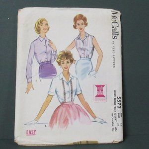 1960 McCall's 5572 Easy Sew Blouses Pattern Sz 12